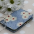 Gisela Graham vintage floral pvc cotton oilcloth passport cover - blue daisy