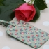 Gisela Graham vintage floral oilcloth luggage tag - green