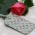 Gisela Graham vintage floral oilcloth luggage tag - green