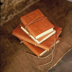 Rustic leather A5 travel journal/notebook by Nkuku