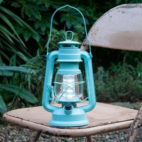 Vintage Style Large Storm Lantern Blue Led Battery