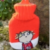 Charlie and Lola mini travel hot water bottle with knitted cover