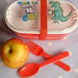 Dinosaur picnic lunchbox/bento box with cutlery