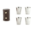 Kikkerland leather hunter's camping/walking shot glasses