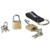 Lifeventure Mini Brass Luggage Security Padlocks x Twin Pack with keyring