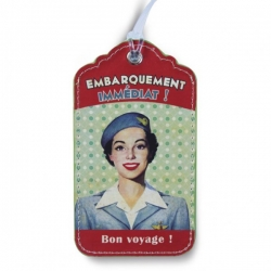 "Natives French 1950s vintage holiday luggage tag ""Bon Voyage! Embarquement Immediat!"""
