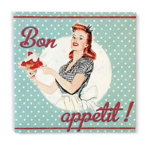 Natives (Comptoir de Famille) French 1950s vintage kitchen retro Bon Appetit paper napkins/serviettes