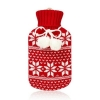 Red knitted fairisle hot water bottle with pompoms