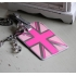 Pink metallic Union Jack luggage tag