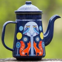 Blue Night Enamel Coffee/Teapot - Folklore Collection Wild & Wolf