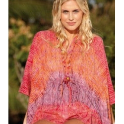 Tie-died pink fair-trade beach kaftan top