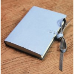 Pale blue Sawali leather bound travel journal by NKuku